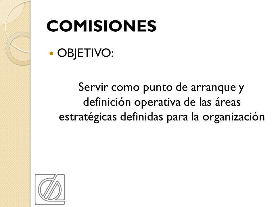 COMISIONES OBJETIVO: Servir como punto de arranque y definición operativa de las áreas estratégicas definidas para la organización.