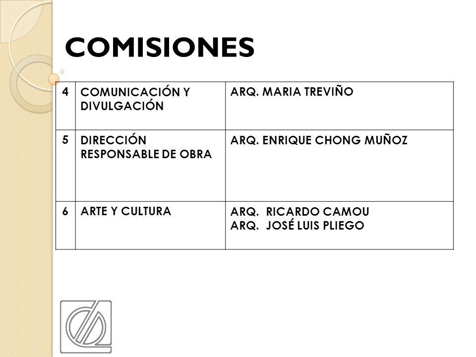 COMISIONES 4 COMUNICACIÓN Y DIVULGACIÓN ARQ. MARIA TREVIÑO 5