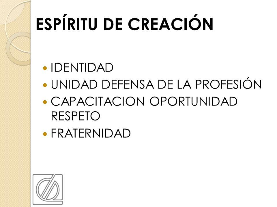 ESPÍRITU DE CREACIÓN IDENTIDAD UNIDAD DEFENSA DE LA PROFESIÓN