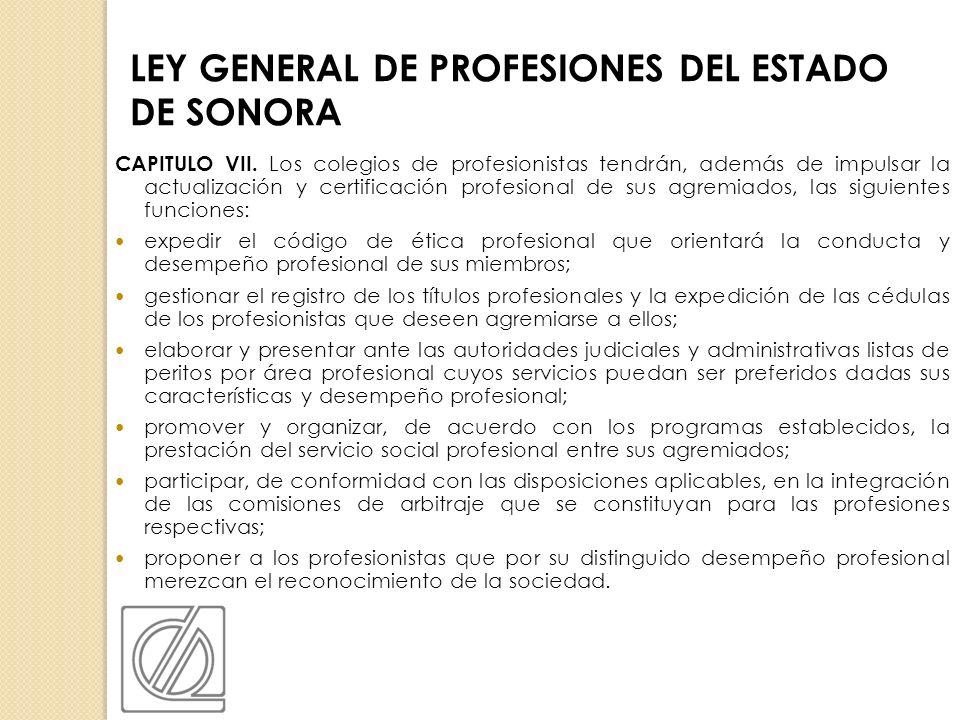 LEY GENERAL DE PROFESIONES DEL ESTADO DE SONORA