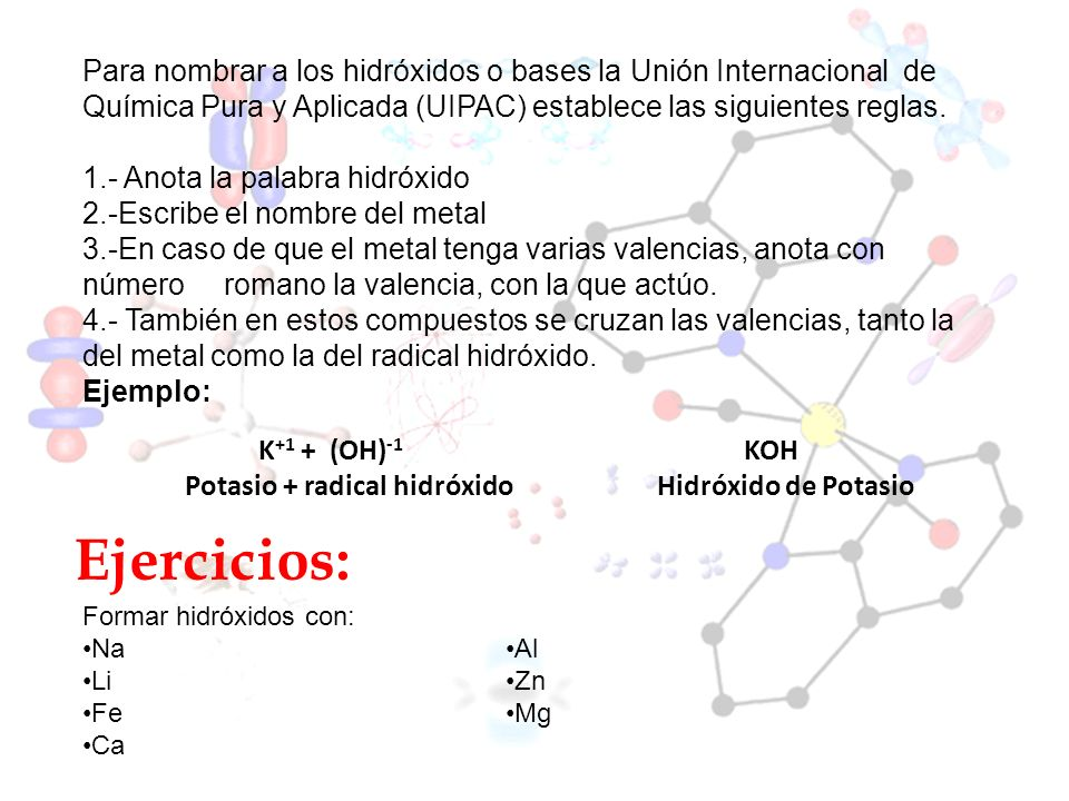 Para nombrar a los hidróxidos o bases la Unión Internacional de Química Pura y Aplicada (UIPAC) establece las siguientes reglas.