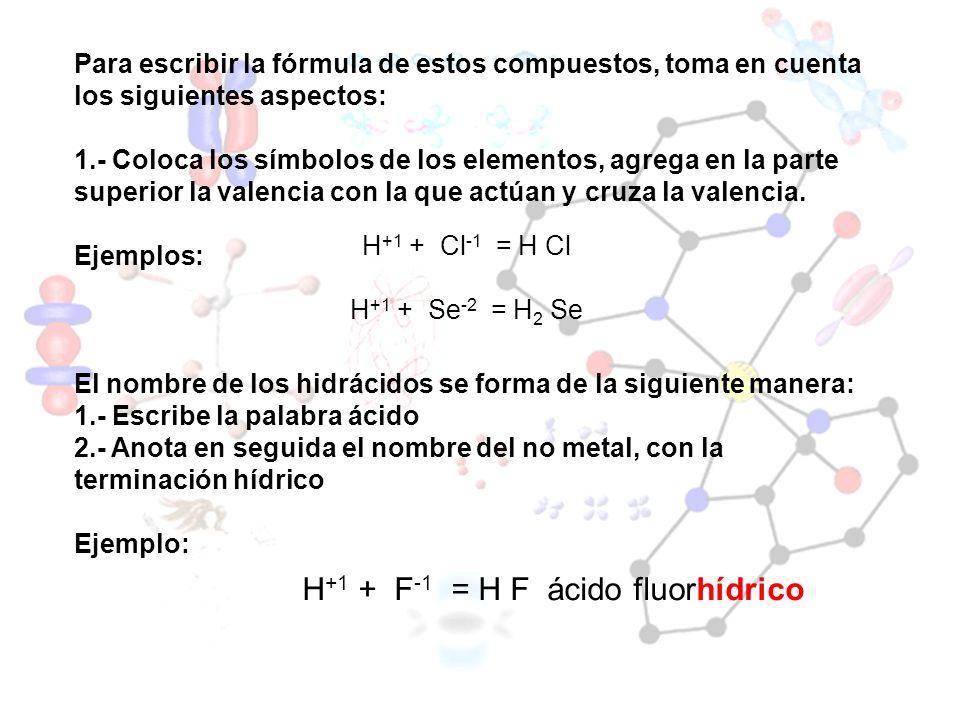 H+1 + F-1 = H F ácido fluorhídrico