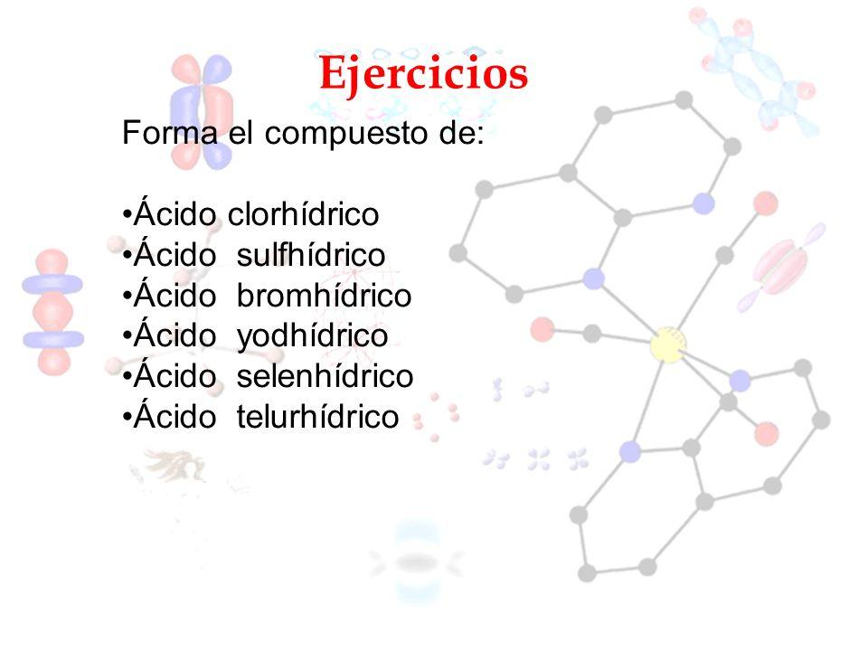 Ejercicios Forma el compuesto de: Ácido clorhídrico Ácido sulfhídrico