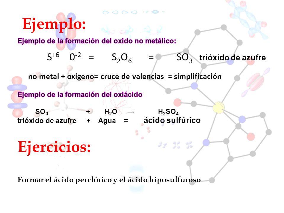 Ejemplo: Ejercicios: S+6 0-2 = S2O6 = SO3 trióxido de azufre