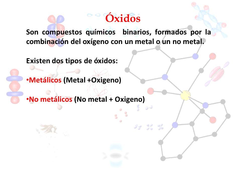 Óxidos Son compuestos químicos binarios, formados por la combinación del oxígeno con un metal o un no metal.