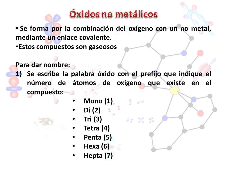 Óxidos no metálicos Se forma por la combinación del oxígeno con un no metal, mediante un enlace covalente.