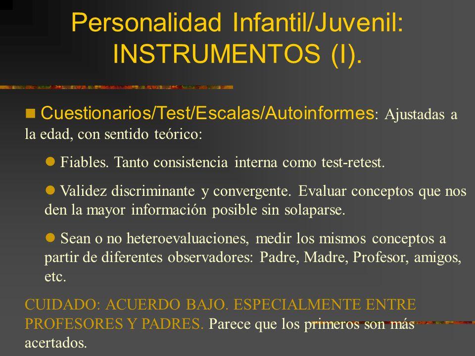 Personalidad Infantil/Juvenil: INSTRUMENTOS (I).