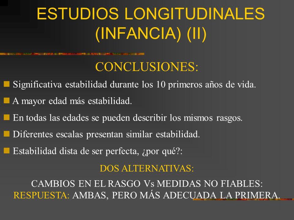 ESTUDIOS LONGITUDINALES (INFANCIA) (II)