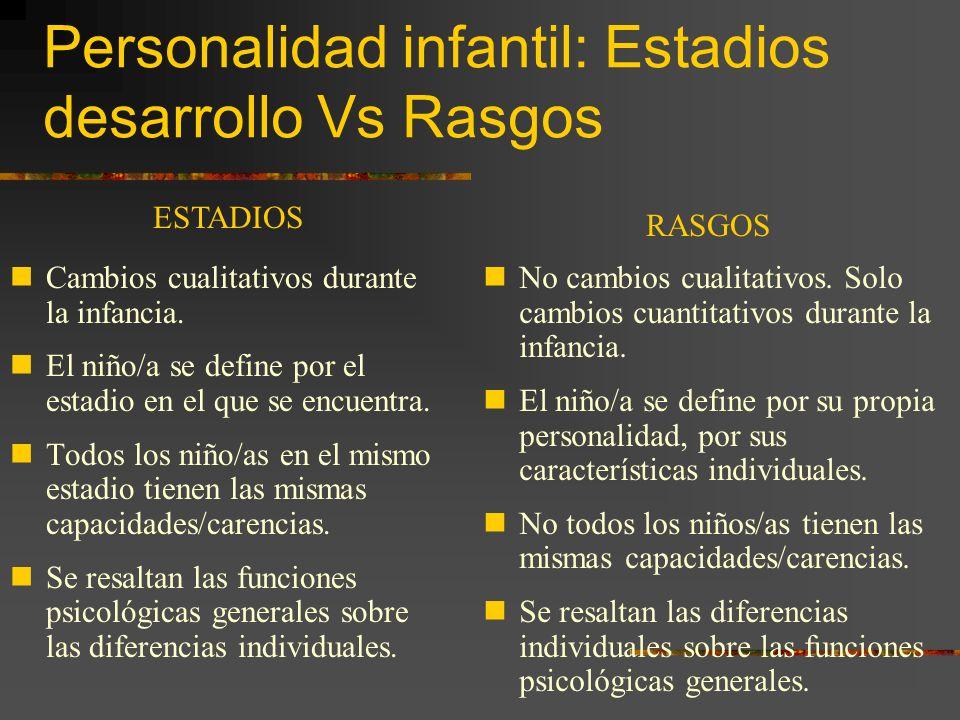 Personalidad infantil: Estadios desarrollo Vs Rasgos