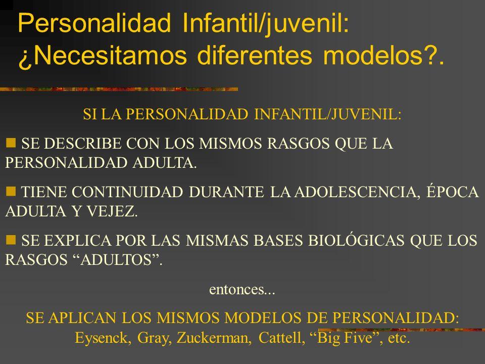 Personalidad Infantil/juvenil: ¿Necesitamos diferentes modelos .