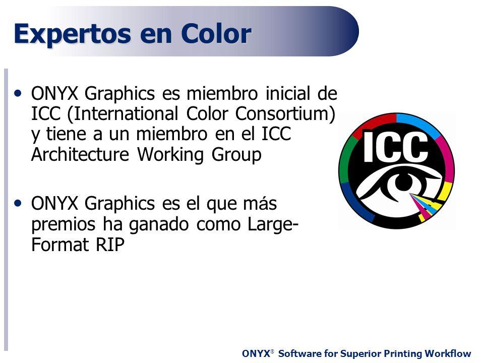 Expertos en Color ONYX Graphics es miembro inicial de ICC (International Color Consortium) y tiene a un miembro en el ICC Architecture Working Group.