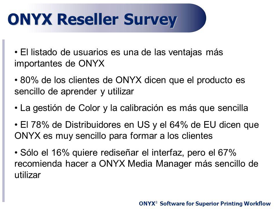 ONYX Reseller Survey El listado de usuarios es una de las ventajas más importantes de ONYX.