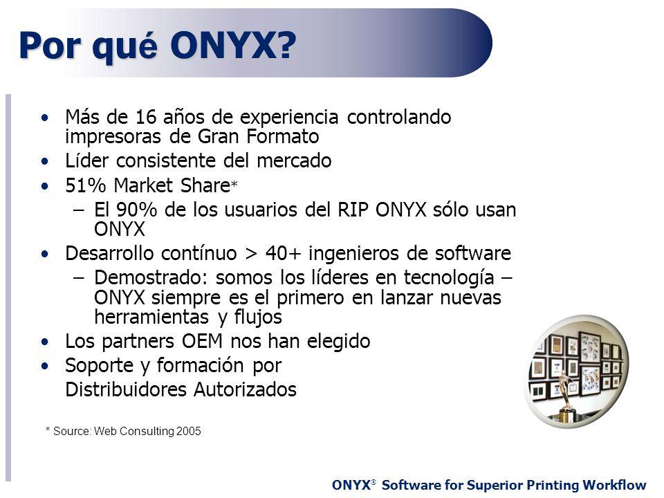 Por qué ONYX Más de 16 años de experiencia controlando impresoras de Gran Formato. Líder consistente del mercado.
