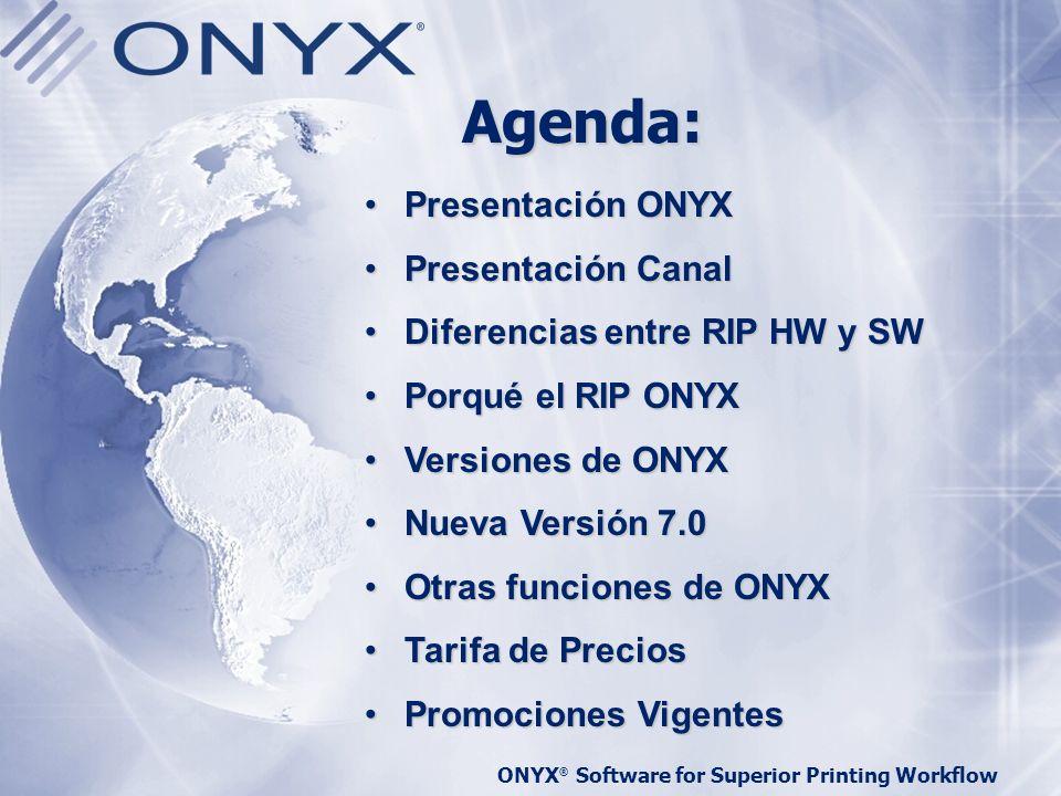Agenda: Presentación ONYX Presentación Canal