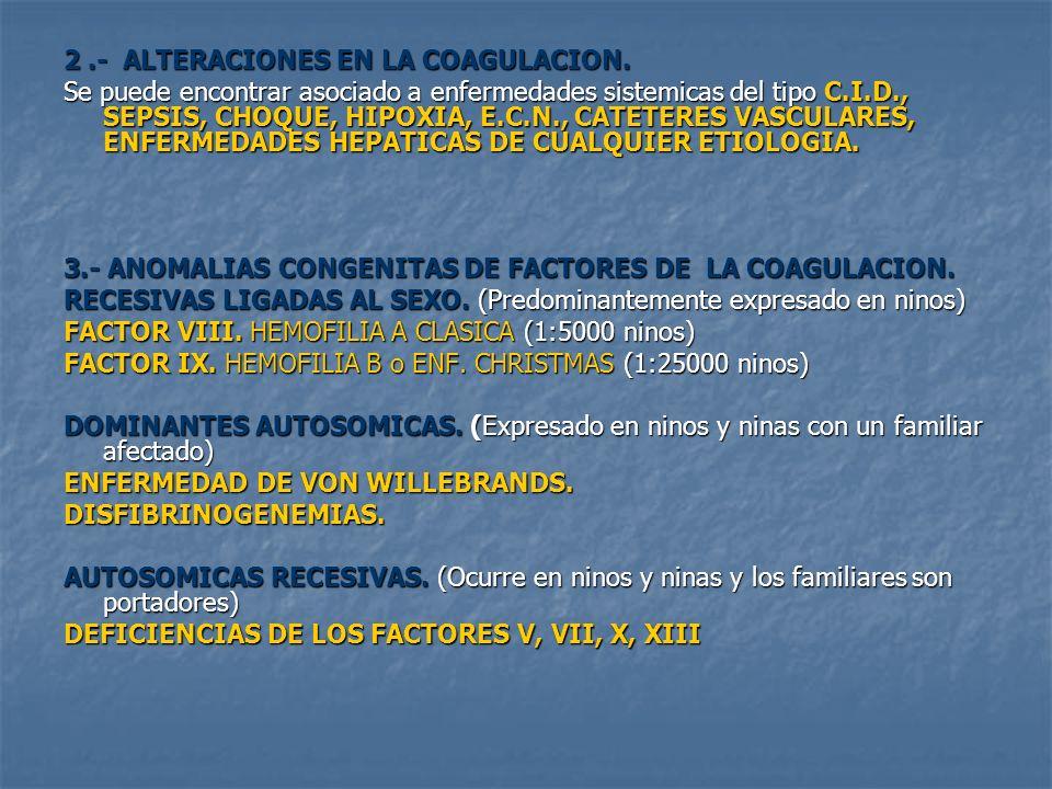 2 .- ALTERACIONES EN LA COAGULACION.