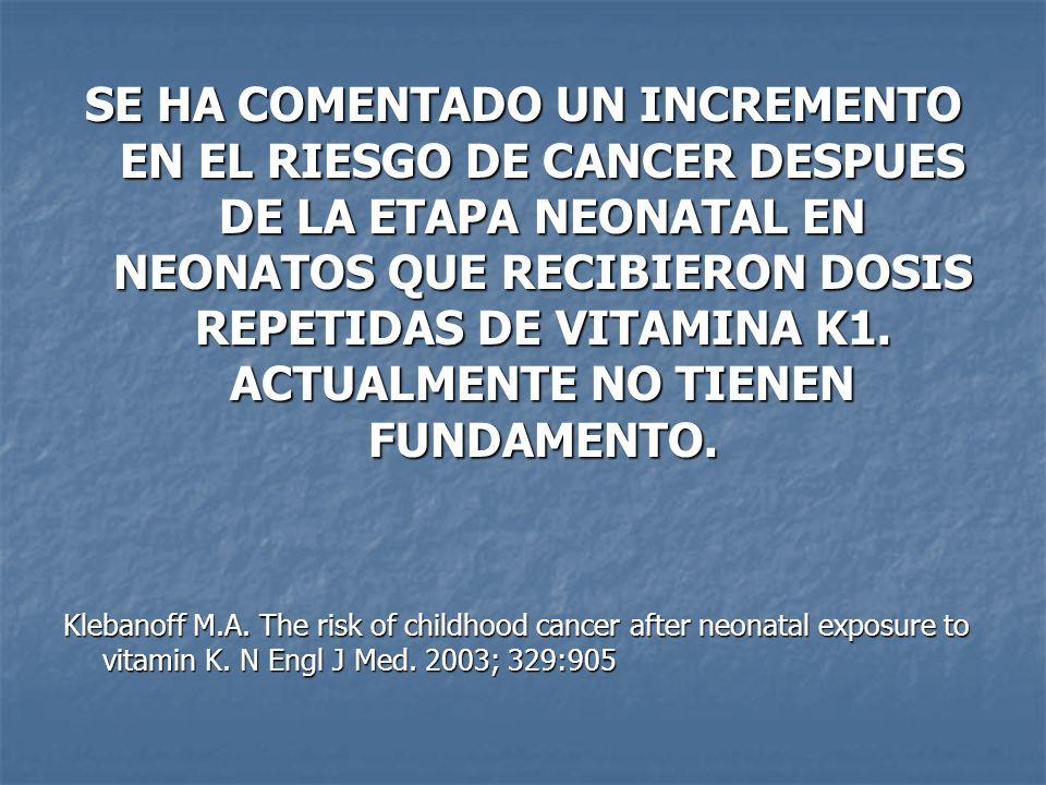 SE HA COMENTADO UN INCREMENTO EN EL RIESGO DE CANCER DESPUES DE LA ETAPA NEONATAL EN NEONATOS QUE RECIBIERON DOSIS REPETIDAS DE VITAMINA K1. ACTUALMENTE NO TIENEN FUNDAMENTO.