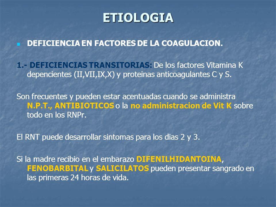 ETIOLOGIA DEFICIENCIA EN FACTORES DE LA COAGULACION.