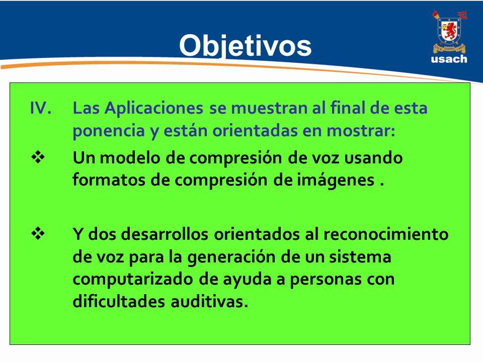 Objetivos Las Aplicaciones se muestran al final de esta ponencia y están orientadas en mostrar:
