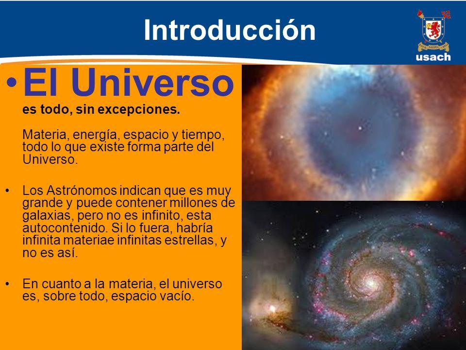 Introducción El Universo es todo, sin excepciones. Materia, energía, espacio y tiempo, todo lo que existe forma parte del Universo.