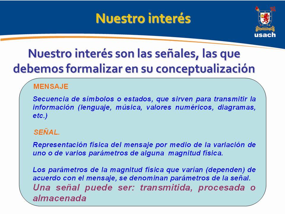 Nuestro interés Nuestro interés son las señales, las que debemos formalizar en su conceptualización