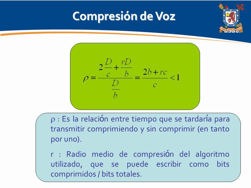 Compresión de Voz  : Es la relación entre tiempo que se tardaría para transmitir comprimiendo y sin comprimir (en tanto por uno).