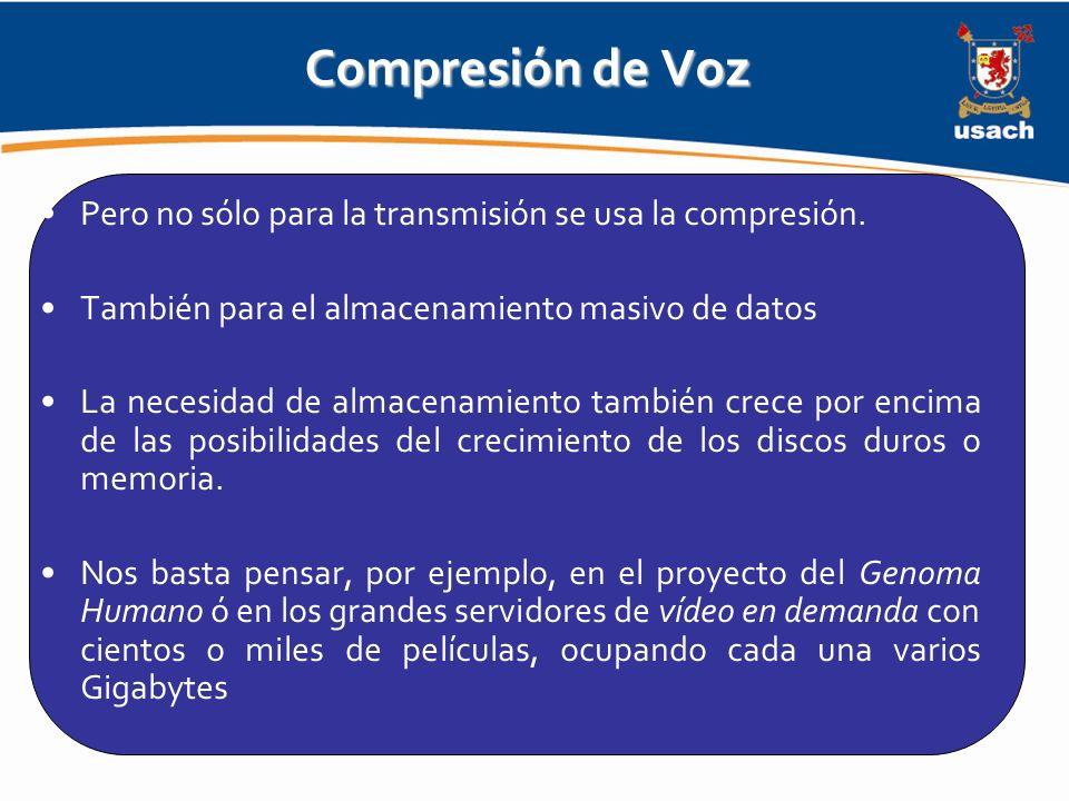 Compresión de Voz Pero no sólo para la transmisión se usa la compresión. También para el almacenamiento masivo de datos.