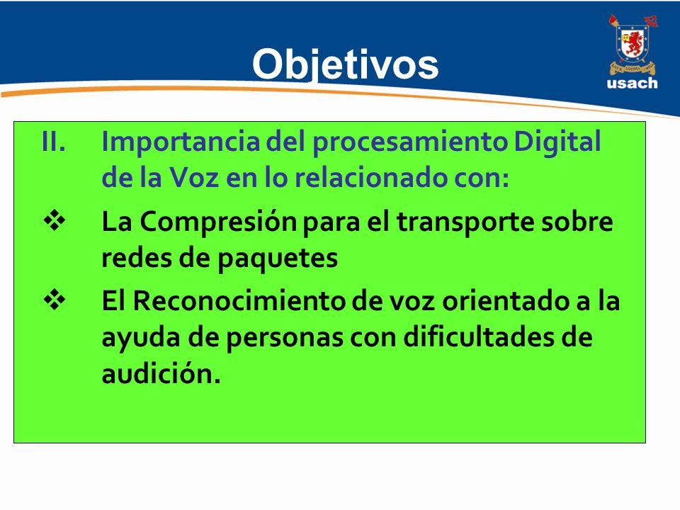 Objetivos Importancia del procesamiento Digital de la Voz en lo relacionado con: La Compresión para el transporte sobre redes de paquetes.