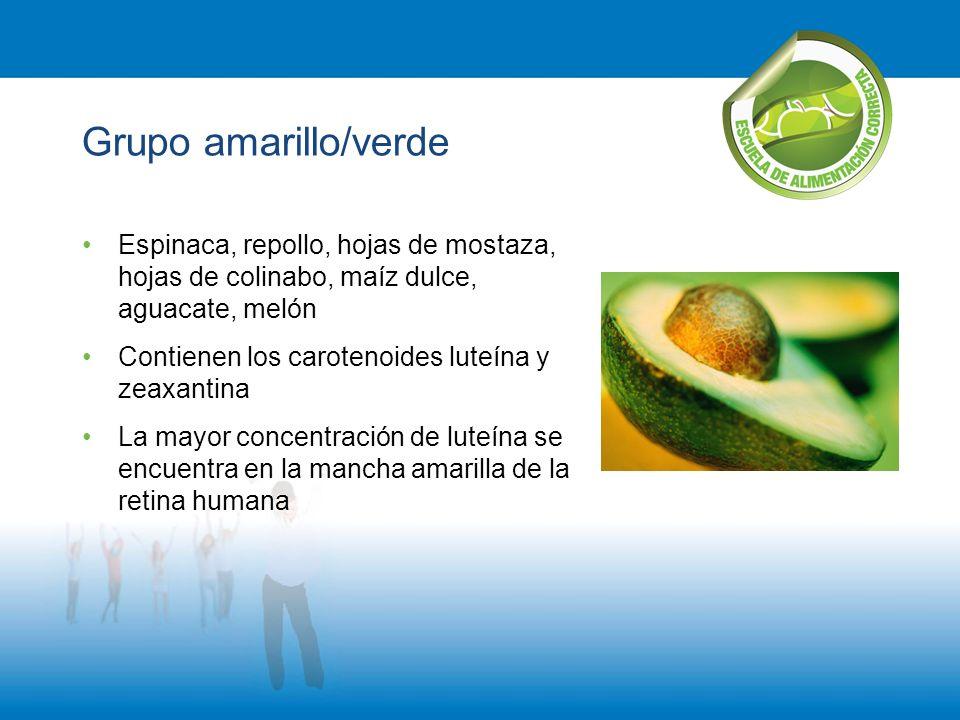 Grupo amarillo/verde Espinaca, repollo, hojas de mostaza, hojas de colinabo, maíz dulce, aguacate, melón.