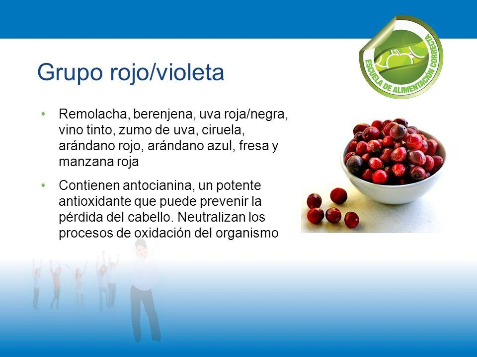 Grupo rojo/violeta Remolacha, berenjena, uva roja/negra, vino tinto, zumo de uva, ciruela, arándano rojo, arándano azul, fresa y manzana roja.