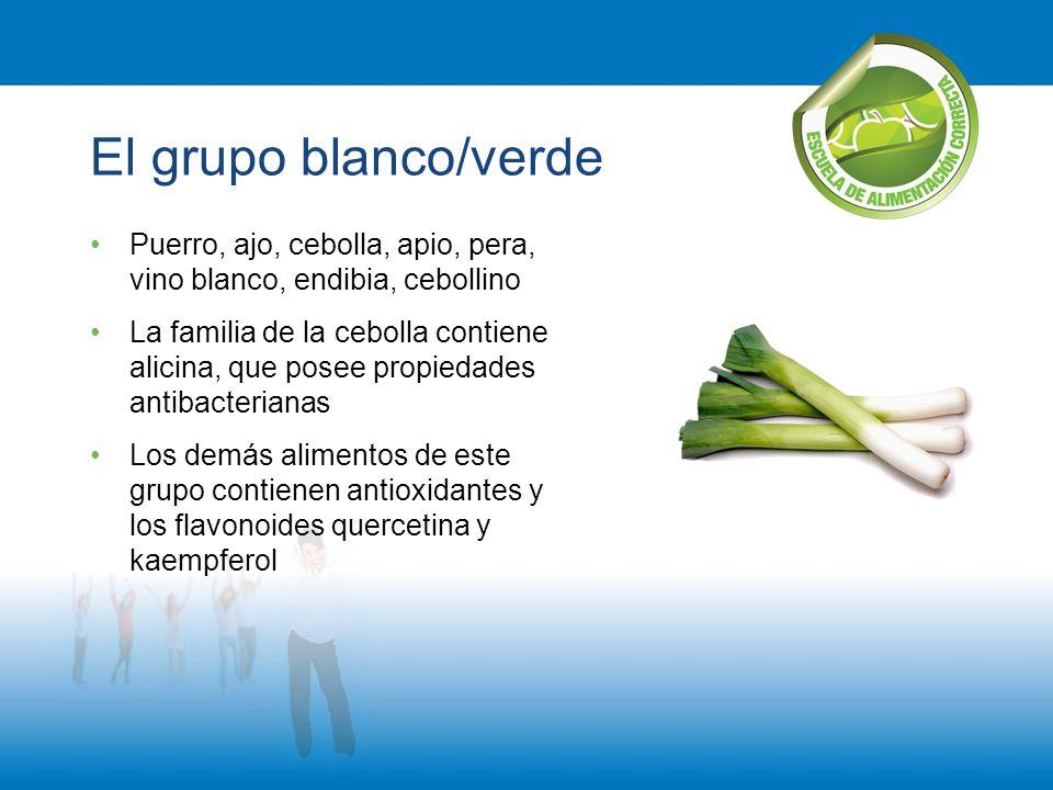 El grupo blanco/verde Puerro, ajo, cebolla, apio, pera, vino blanco, endibia, cebollino.