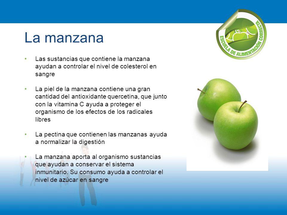 La manzana Las sustancias que contiene la manzana ayudan a controlar el nivel de colesterol en sangre.