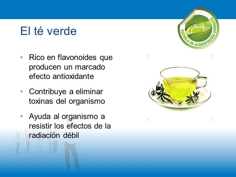 El té verde Rico en flavonoides que producen un marcado efecto antioxidante. Contribuye a eliminar toxinas del organismo.