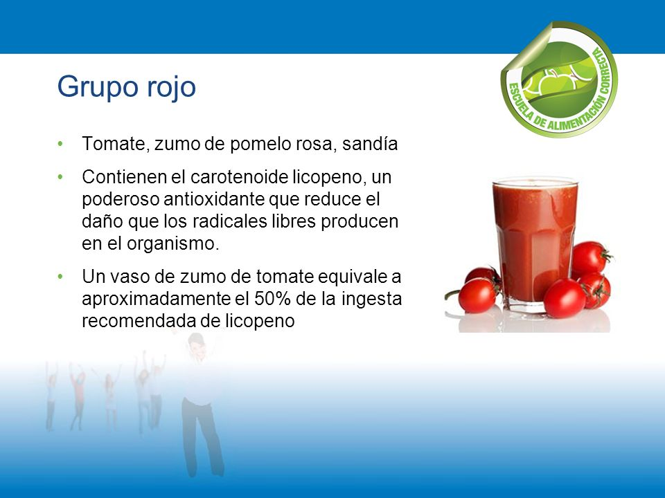Grupo rojo Tomate, zumo de pomelo rosa, sandía