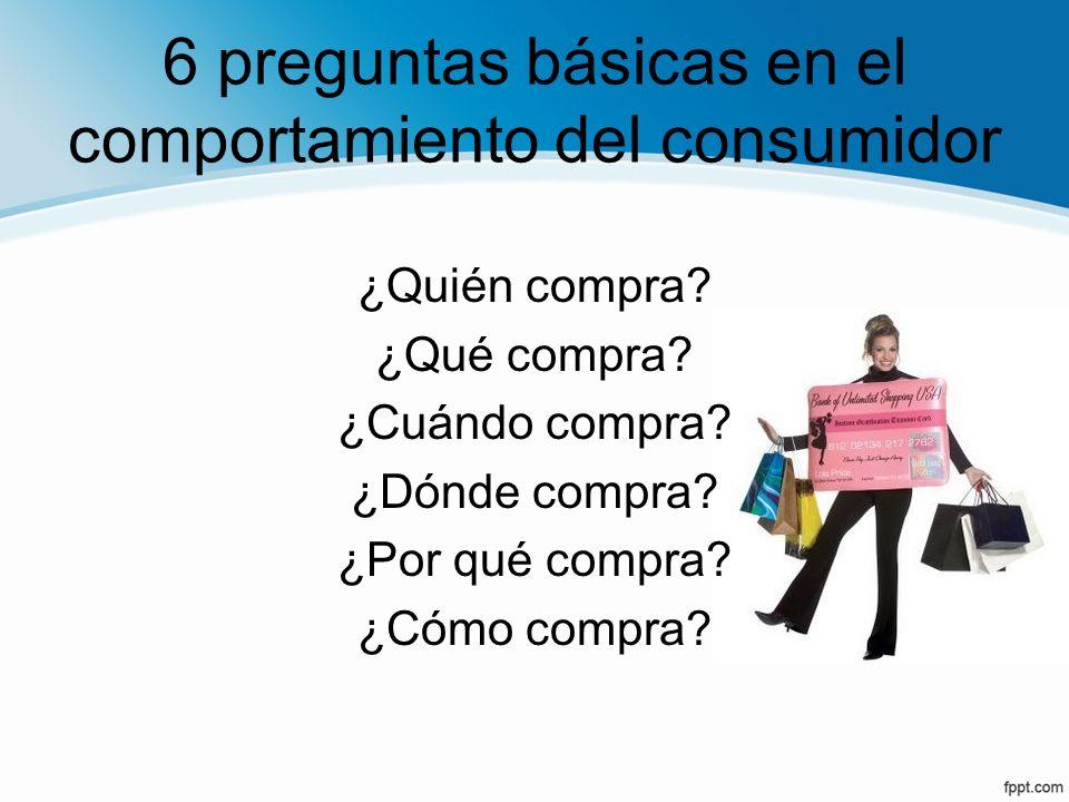 6 preguntas básicas en el comportamiento del consumidor
