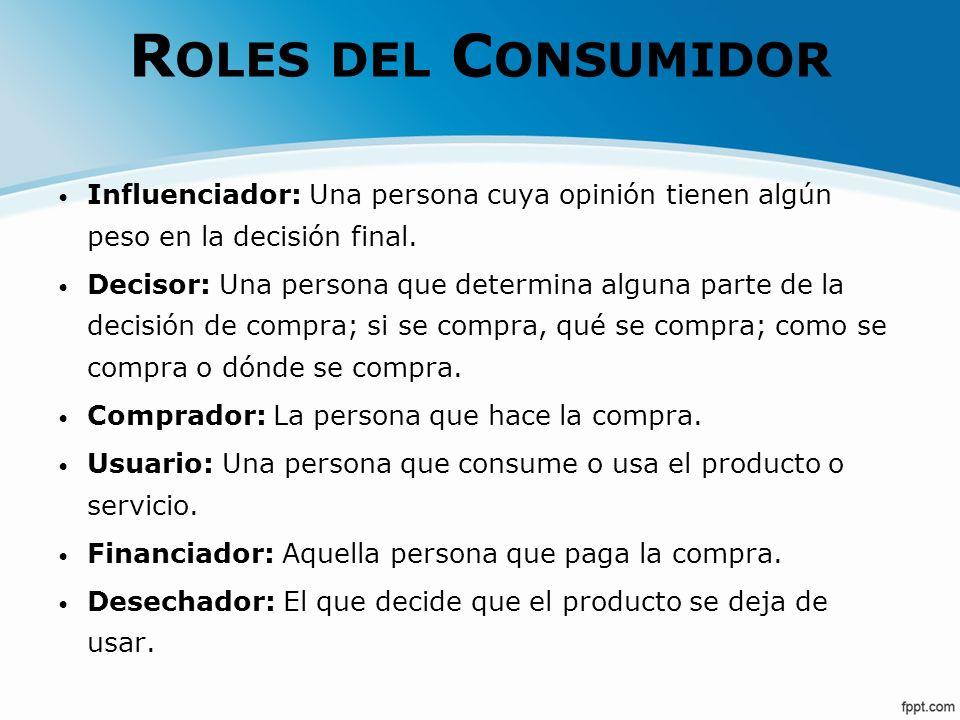 Roles del Consumidor Influenciador: Una persona cuya opinión tienen algún peso en la decisión final.