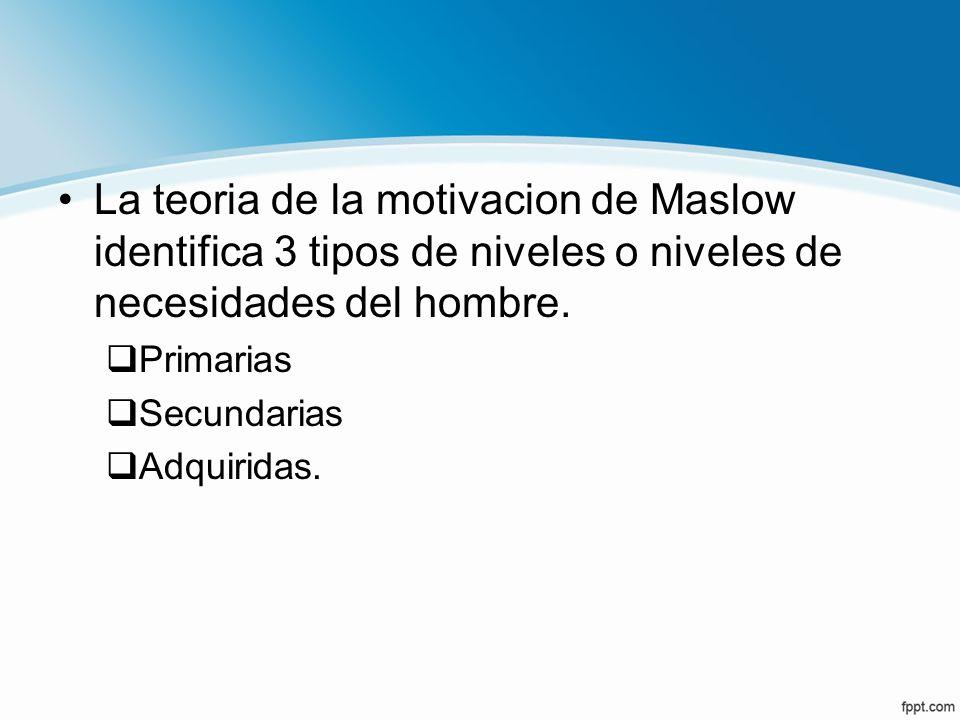 La teoria de la motivacion de Maslow identifica 3 tipos de niveles o niveles de necesidades del hombre.