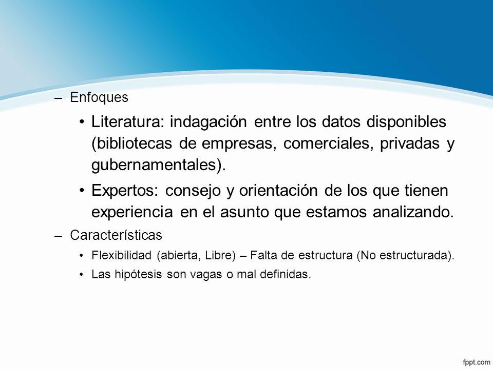 Enfoques Literatura: indagación entre los datos disponibles (bibliotecas de empresas, comerciales, privadas y gubernamentales).