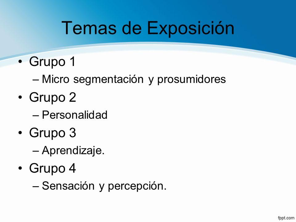 Temas de Exposición Grupo 1 Grupo 2 Grupo 3 Grupo 4
