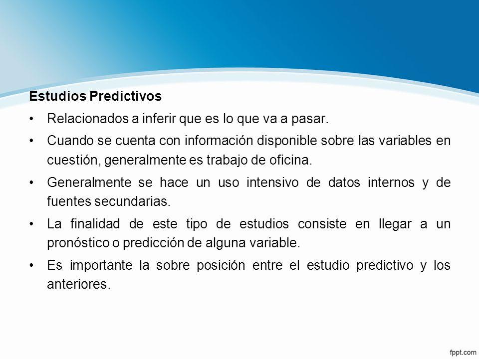 Estudios Predictivos Relacionados a inferir que es lo que va a pasar.