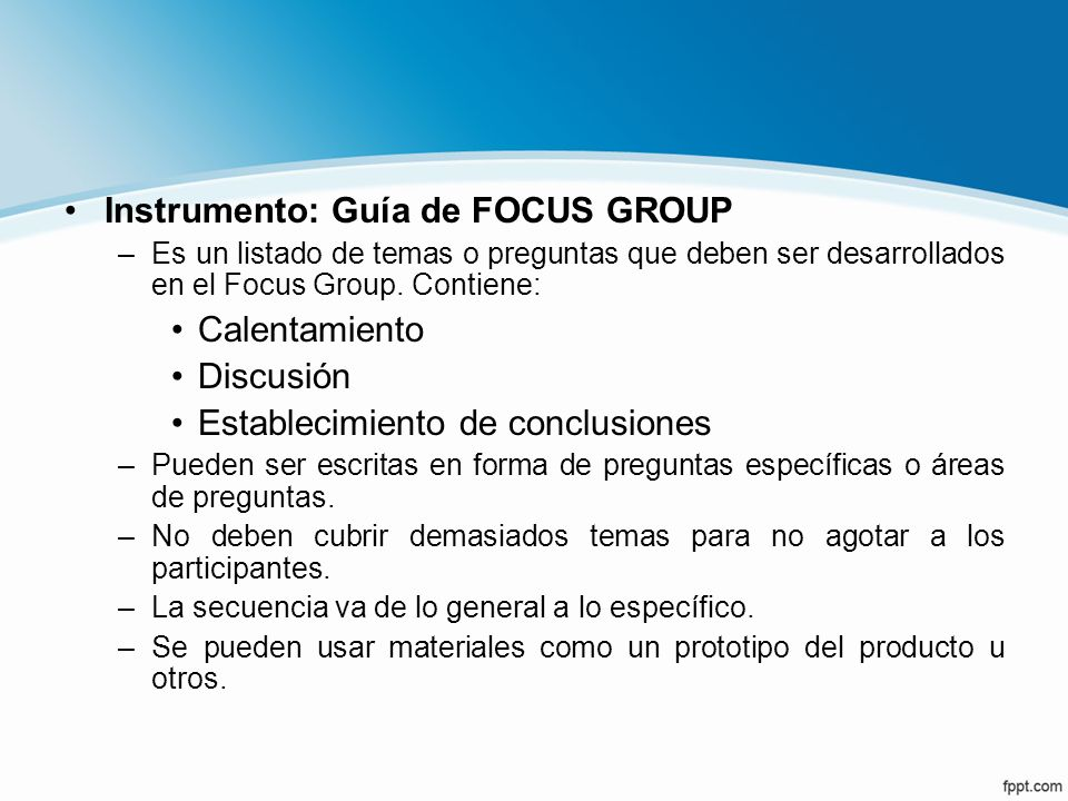Instrumento: Guía de FOCUS GROUP