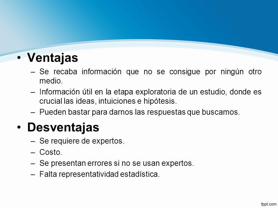Ventajas Se recaba información que no se consigue por ningún otro medio.
