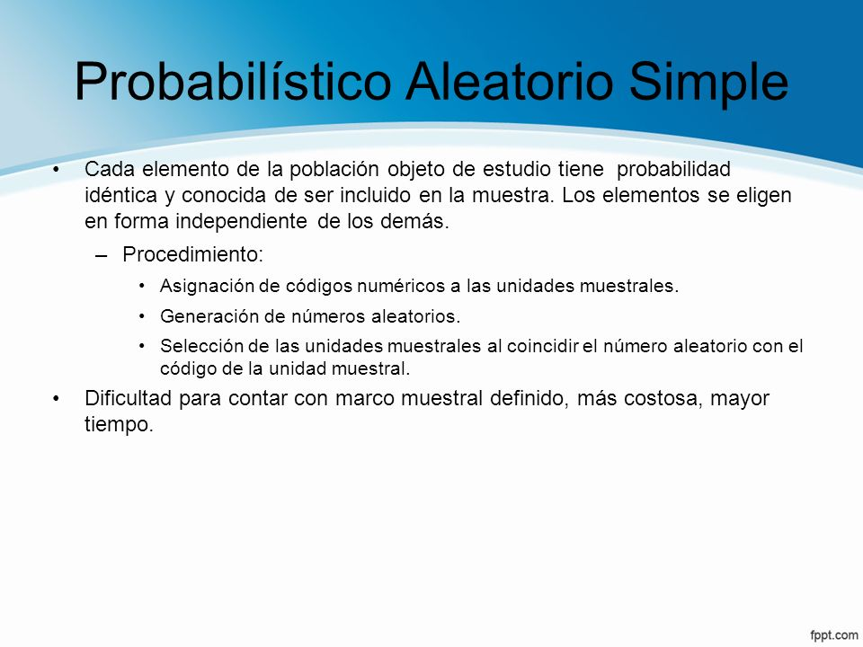 Probabilístico Aleatorio Simple