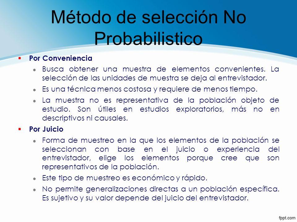 Método de selección No Probabilistico