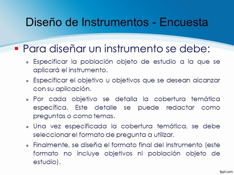 Diseño de Instrumentos - Encuesta