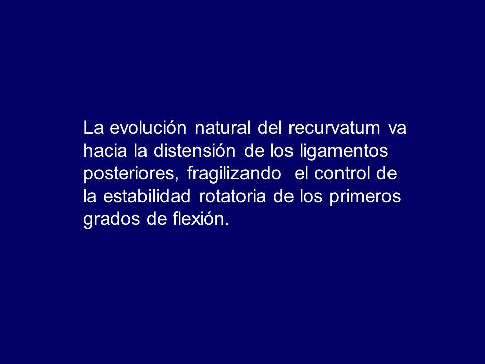 La evolución natural del recurvatum va hacia la distensión de los ligamentos posteriores, fragilizando el control de la estabilidad rotatoria de los primeros grados de flexión.