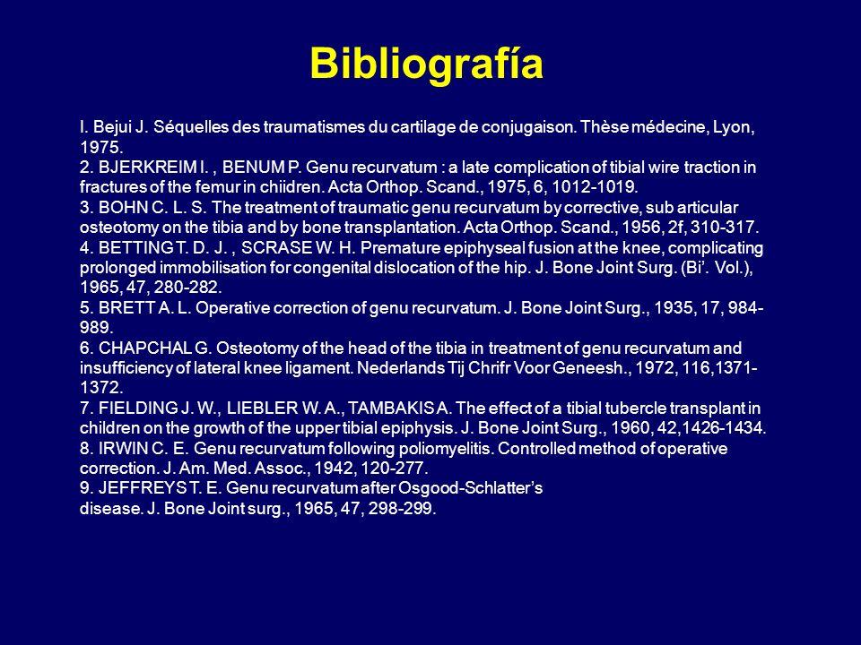 Bibliografía I. Bejui J. Séquelles des traumatismes du cartilage de conjugaison. Thèse médecine, Lyon, 1975.