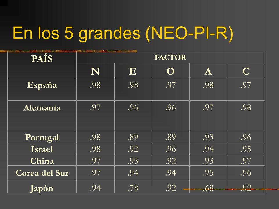 En los 5 grandes (NEO-PI-R)