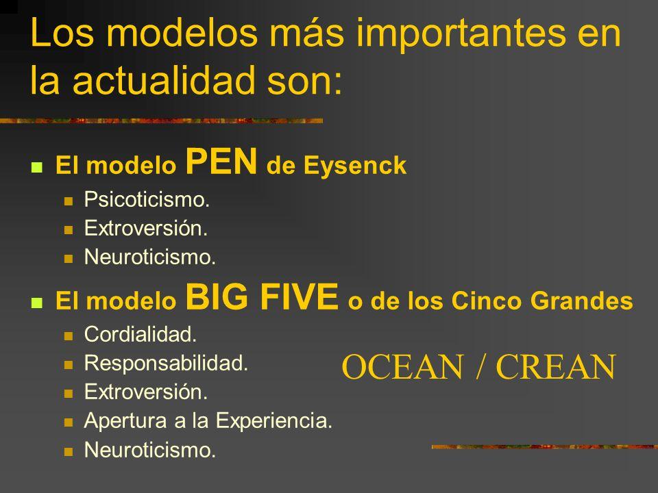 Los modelos más importantes en la actualidad son: