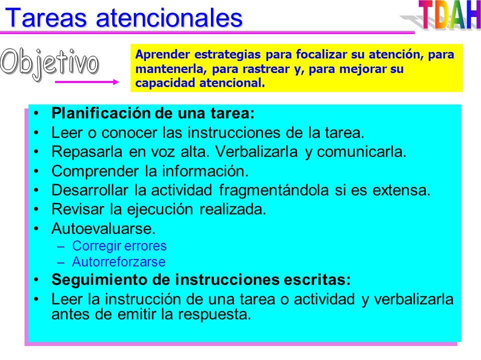Tareas atencionales TDAH Objetivo Planificación de una tarea: