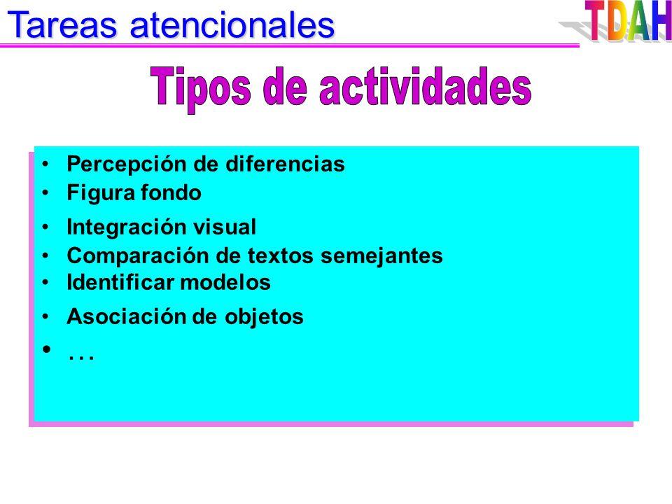 Tareas atencionales TDAH Tipos de actividades …